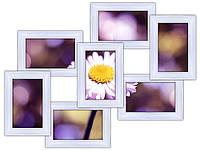 Деревянная фоторамка на стену  на 7 фото, белая.
