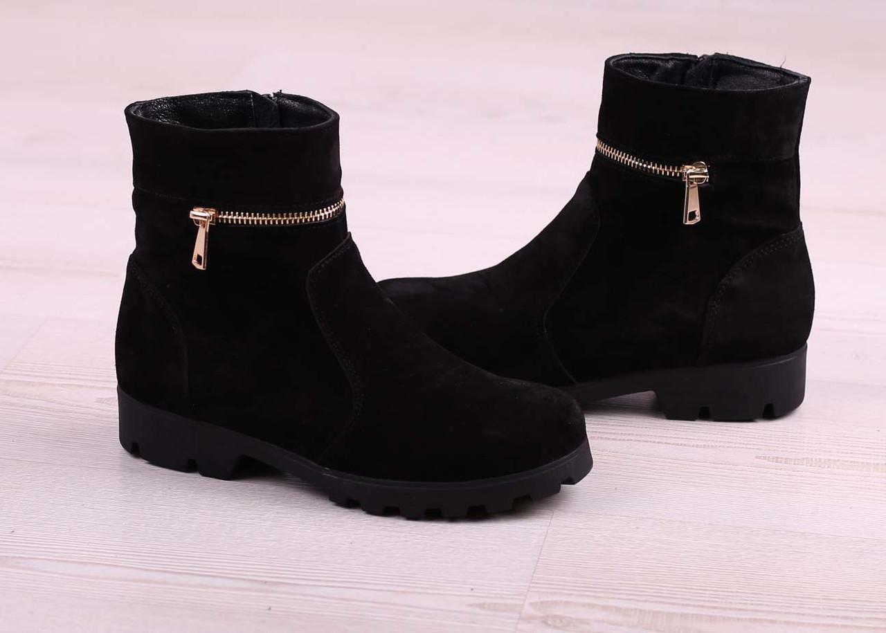 36 р. Ботинки женские деми черные замшевые на низком ходу низкий ход демисезонные из натуральной замши замша