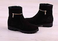 36 р. Ботинки женские деми черные замшевые на низком ходу низкий ход демисезонные из натуральной замши замша, фото 1