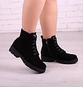 38 р. Ботинки женские деми черные замшевые на низком ходу низкий ход демисезонные из натуральной замши замша