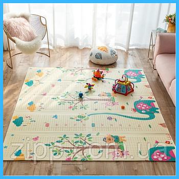 Дитячий ігровий двосторонній килимок складаний розвиваючий килимок термо 2м х 1,8 м х 6мм Тварини і Ростомір