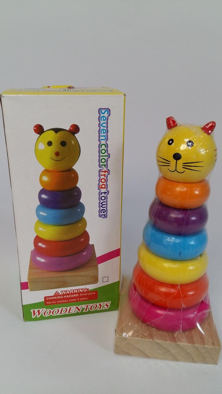 Дерев'яна іграшка Пірамідка тварини MD 2420