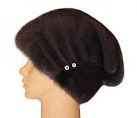 """Норковая шапка """"Бритни, пуговица"""" (ирис)"""