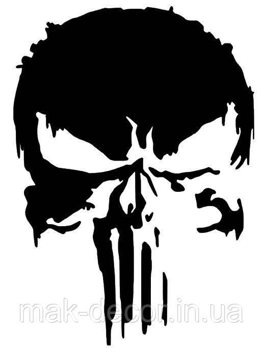 Вінілова наклейка на авто - Череп Punisher 70х50 см