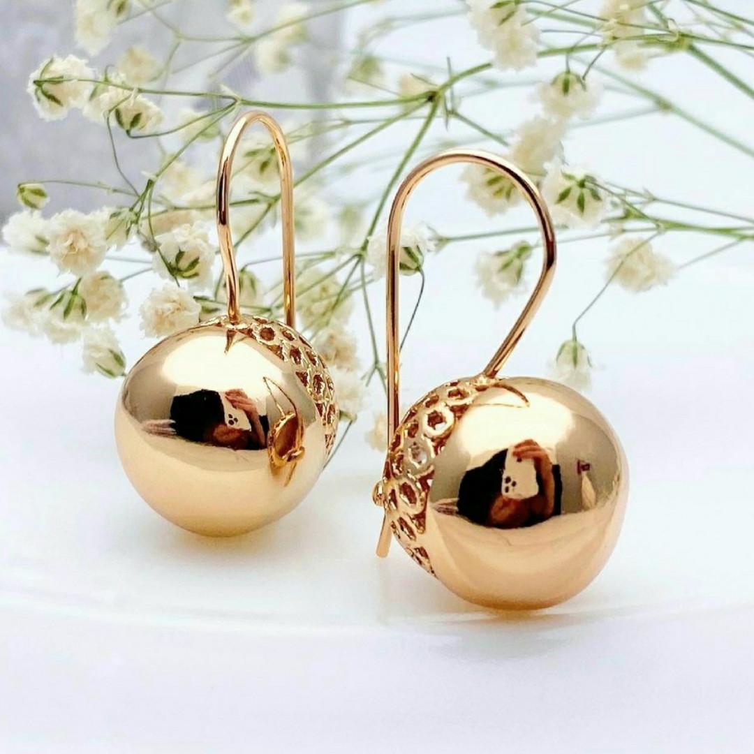 Сережки кульки Xuping довжина 3см кулька-15мм медичне золото позолота 18К с861