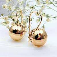 Сережки кульки Xuping довжина 3см кулька-15мм медичне золото позолота 18К с861, фото 1