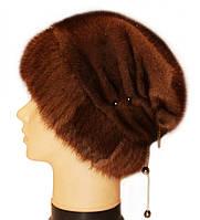 "Норковая шапка ""Бритни на трикотажной ножке"" (орех)"