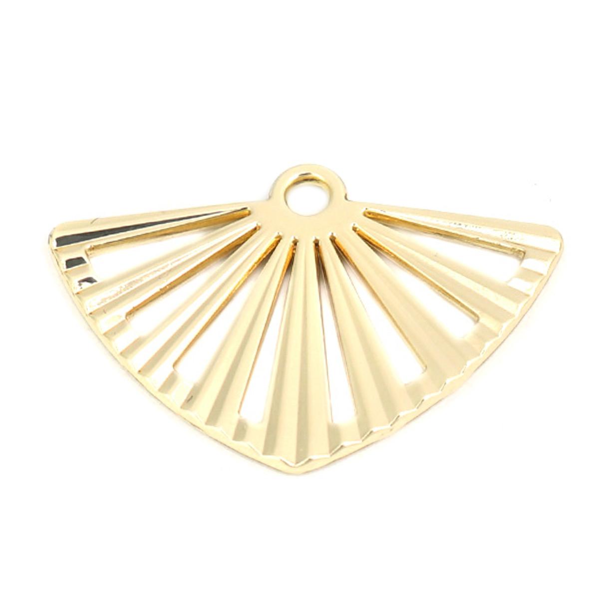 Металлический коннектор 25х17 мм веер золото для рукоделия