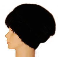 """Норковая шапка """"Бритни на трикотажной ножке"""" (черный)"""