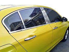 Fiat Tipo 2016↗ рр. Молдинг дверних стійок (6 шт, нерж)