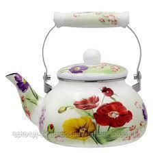 Чайник эмалированный  с керамической ручкой 2,5 л Полевые цветы Zauberg  1/L