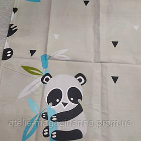 Наволочка на подушку из сатина 70*70 серая с пандами