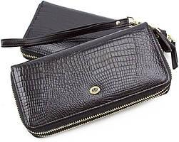 Черный лаковый кошелек-клатч на две молнии ST Leather (16316)