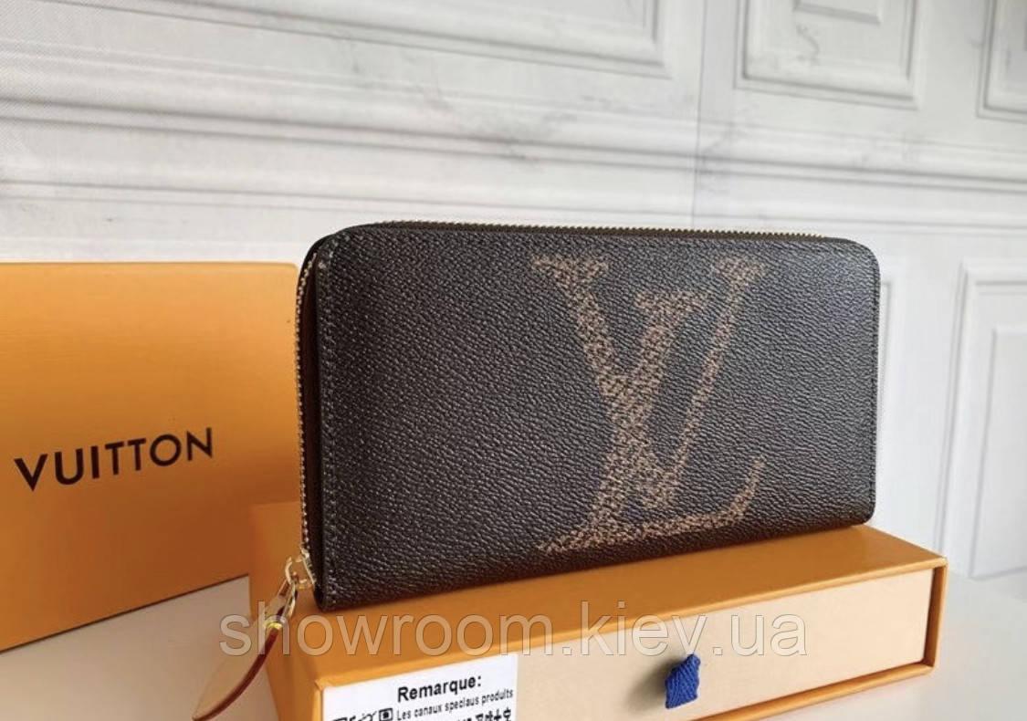 Жіночий брендовий гаманець LV (60017) brown Lux