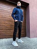 Ветровка мужская демисезонная Soft Shell (Победов Софт Шел) темно-синяя - S, M, L, XL