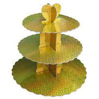 Стенд трёхъярусный картонный для капкейков круглый золотого цвета с голограммой (шт)