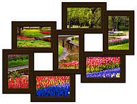 Фоторамка на 7 фото, коричневая, вУкраине