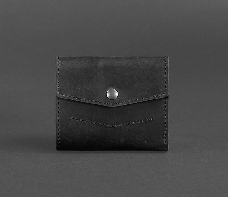 Гаманець шкіряний на кнопці чорний портофіно (ручна робота) BN-W-2-1-blackwood