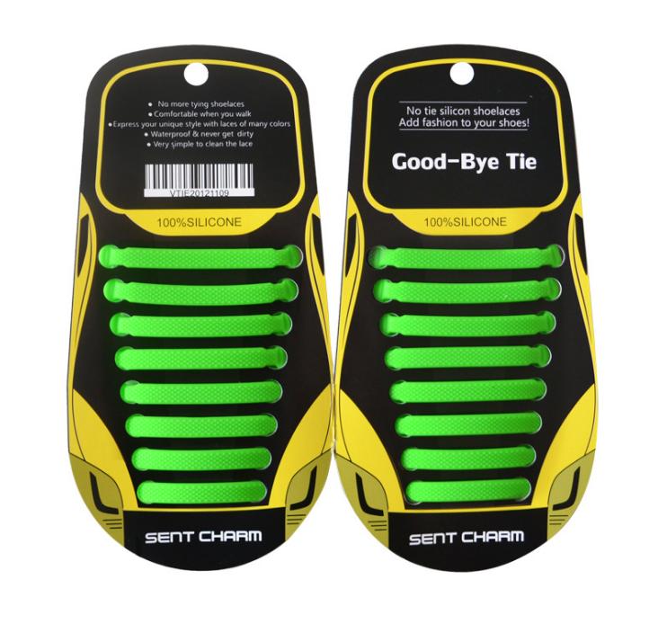 """Зеленые силиконовые шнурки разной длины для спортивной обуви. """"Ленивые шнурки"""". Цветные шнурки для кроссовок"""