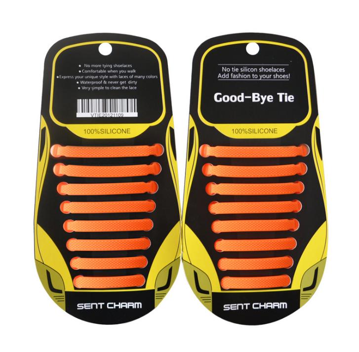 """Помаранчеві силіконові шнурки різної довжини для спортивного взуття. """"Ледачі шнурки"""". Гумові шнурки для кросівок"""