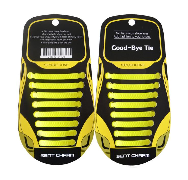 """Жовті силіконові шнурки різної довжини для спортивного взуття. """"Ледачі шнурки"""". Гумові шнурки для кросівок"""