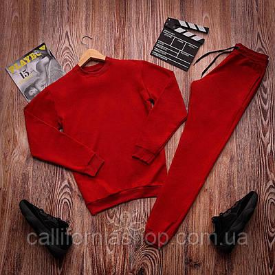 Спортивный костюм красный мужской весенний со свитшотом и штанами