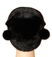 """Норковая шапка """"Киска"""" (черный)"""