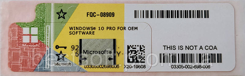 Windows 10 Профессиональная, 64bit, ОЕМ, UKR, СОА (наклейка)