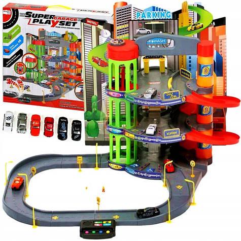Большой гараж-паркинг PWTOYS Super Garage 3 этажа XXL с дорогой и машинками