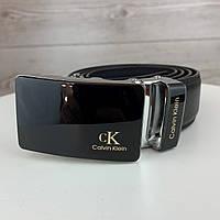 Мужской ремень Calvin Klein автомат | Брендовый черный ремень на пояс Кельвин Кляйн с пряжкой в коробке