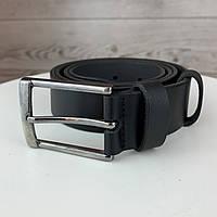 Мужской кожаный гладкий ремень|Классический черный ремень на пояс с пряжкой в коробке
