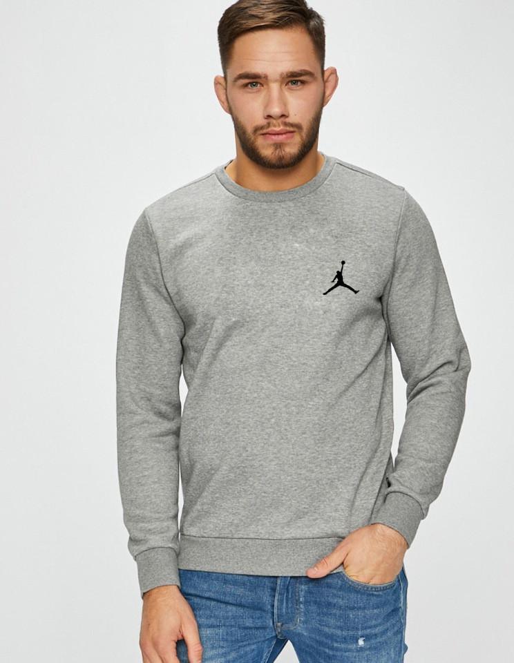 Мужская спортивная кофта свитшот, толстовка Jordan (Джордан) серая