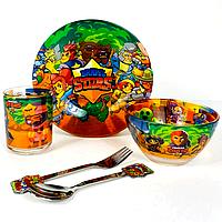 Детский набор стеклянной посуды для кормления Brаwl Stars (Бровл Старс) 5 предметов Metr+