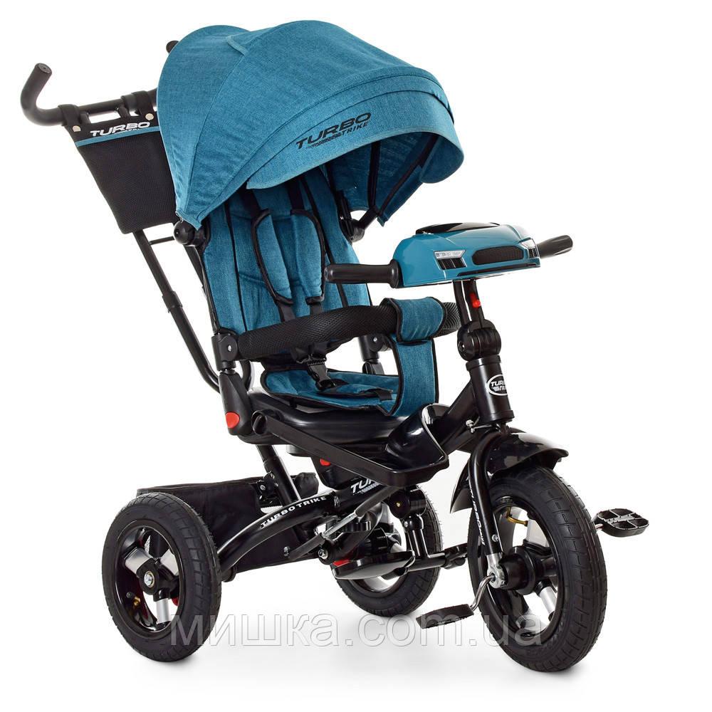 Дитячий велосипед Turbotrike М 5448HA-21T триколісний, колеса надувні, музика, фара, смарагд