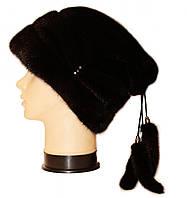 """Норковая шапка """"Буратино"""" (черный)"""