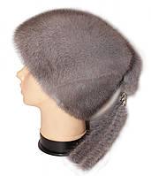 """Норковая шапка """"Козачек2"""" (серо-голубой)"""