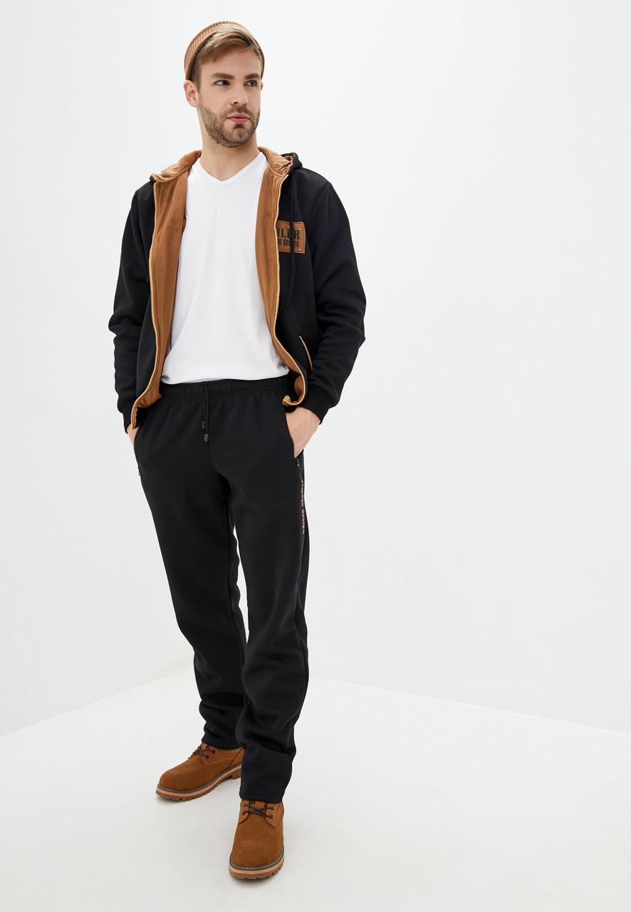 Чоловічий теплий трикотажний костюм зі вставками із замші, турецька тканина