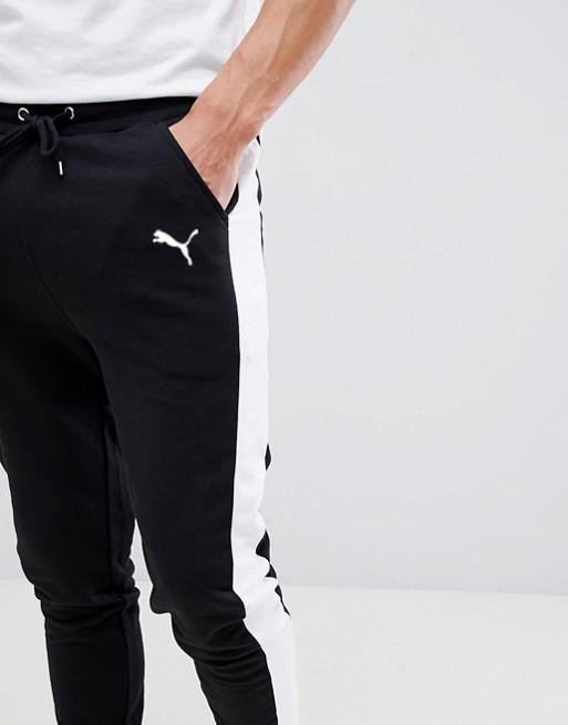 Мужские спортивные штаны Puma (Пума) с лампасами черные