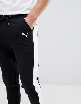 Мужские спортивные штаны Puma (Пума) с лампасами черные, фото 2