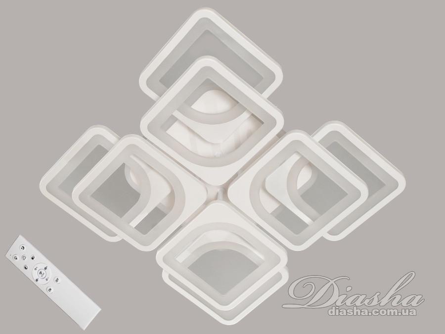 Стельова LED-люстра з діммером і підсвічуванням колір чорно білий 145W Діаша&MX2281/4+4S BK LED 3color dimmer