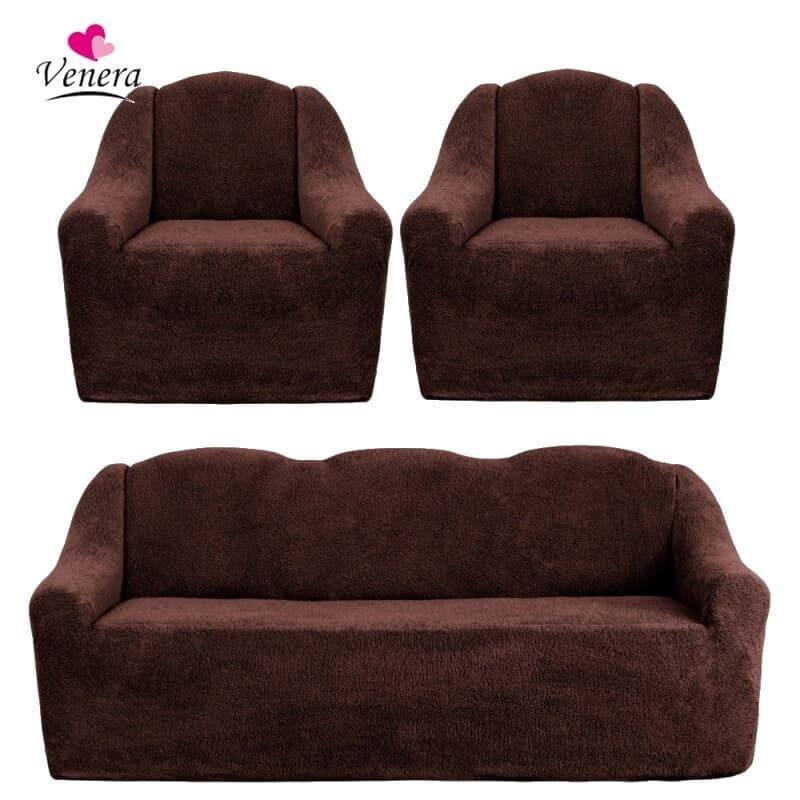 Чохли на диван і два крісла хутряні, плюшеві, без оборки внизу, для м'яких меблів, натяжні Venera Коричневий