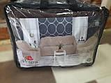 Чехлы на диван и два кресла меховые, плюшевые, без оборки внизу, для мягкой мебели, натяжные Venera Коричневый, фото 8