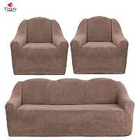 Чехлы на диван и два кресла меховые, плюшевые, без оборки внизу, для мягкой мебели, натяжные Venera Капучино