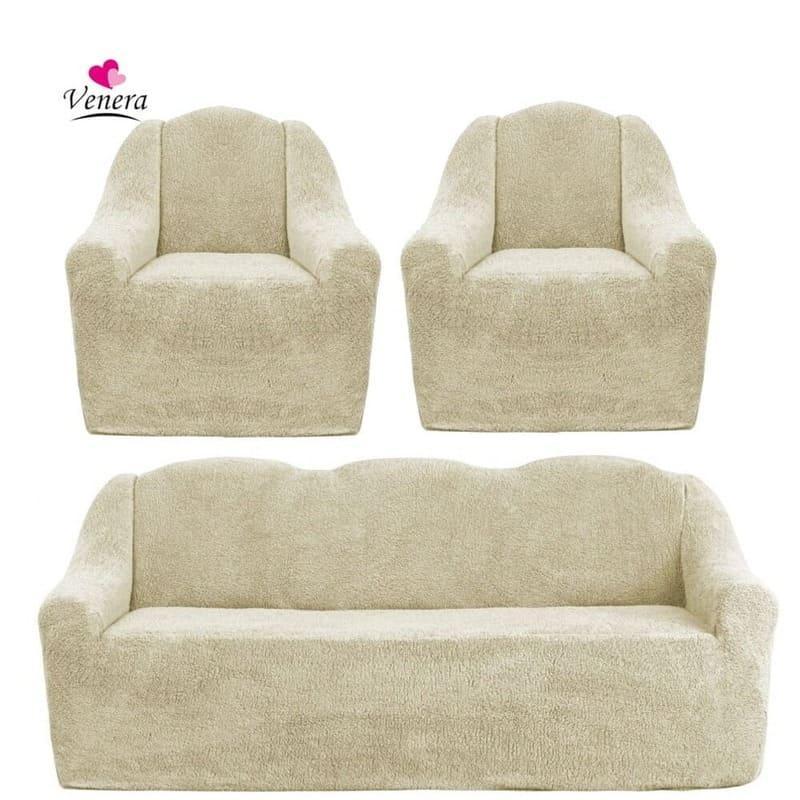 Чехлы на диван и два кресла меховые, плюшевые, без оборки внизу, для мягкой мебели, натяжные Venera Песочный