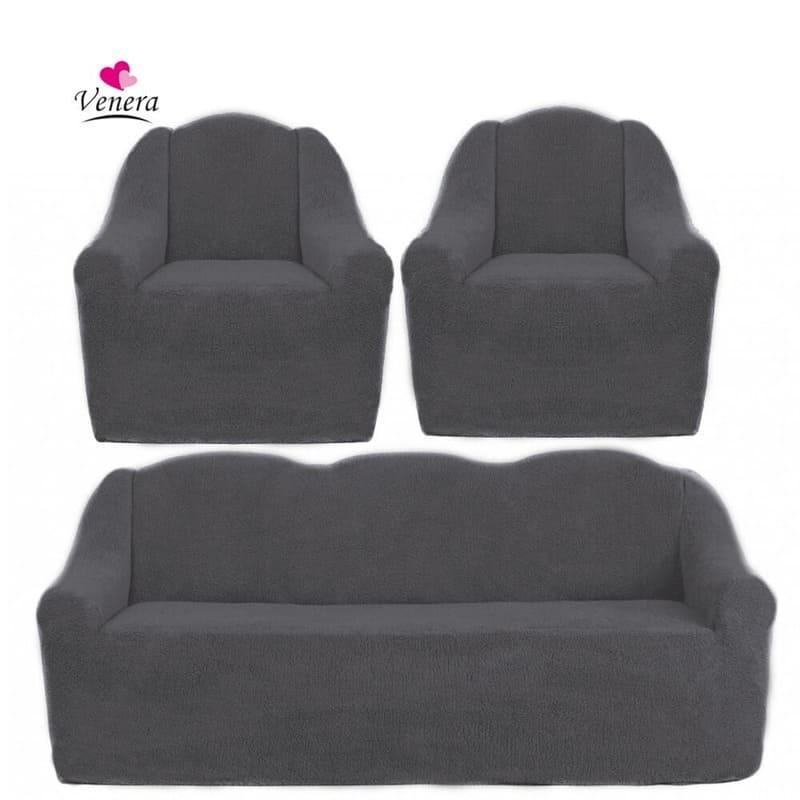 Чохли на диван і два крісла хутряні, плюшеві, без оборки внизу, для м'яких меблів, натяжні Venera Графітовий