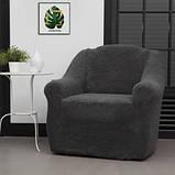 Чохли на диван і два крісла хутряні, плюшеві, без оборки внизу, для м'яких меблів, натяжні Venera Графітовий, фото 5