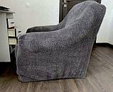 Чохли на диван і два крісла хутряні, плюшеві, без оборки внизу, для м'яких меблів, натяжні Venera Графітовий, фото 6