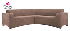 Чехол на угловой диван плюшевый, меховой, без оборки внизу, натяжные Venera Цвет Капучино
