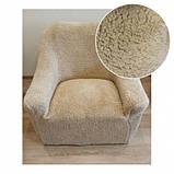 Чехол на угловой диван плюшевый, меховой, без оборки внизу, натяжные Venera Цвет Бежевый, фото 4