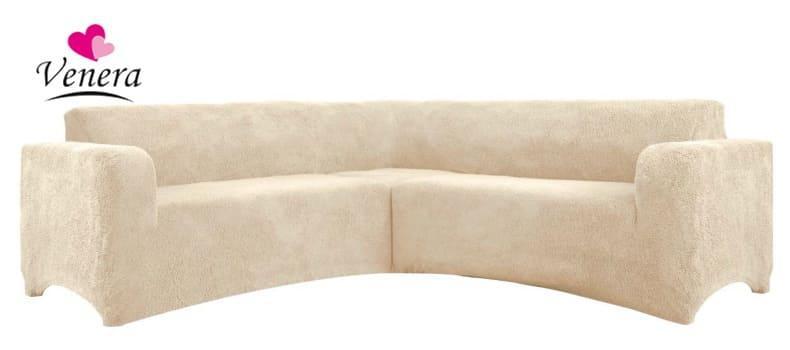 Чехол на угловой диван плюшевый, меховой, без оборки внизу, натяжные Venera Цвет Песочный